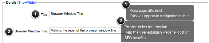 Browser Title Field under the info tab