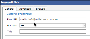 Screenshot showing sample email link URL with mailto text included
