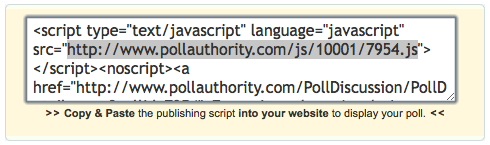 Poll authority embed code