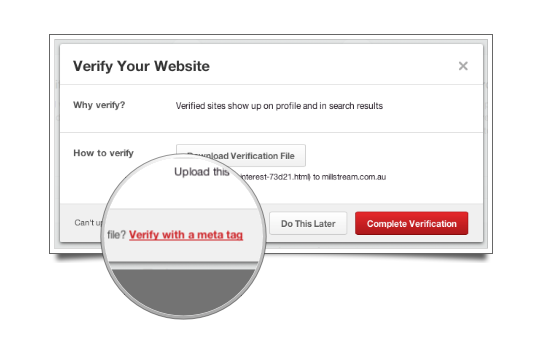 Verify with Meta Tag