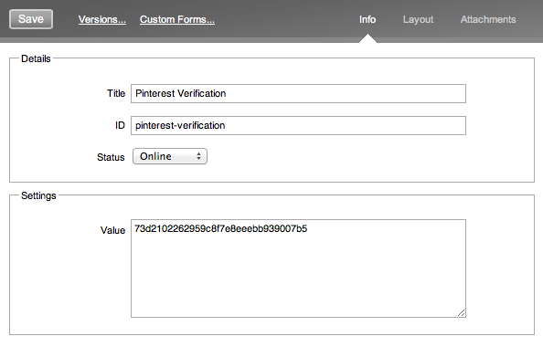 Create Verification Asset in Spring