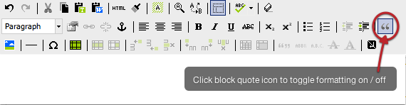 Click to toggle block-quote formatting on and off
