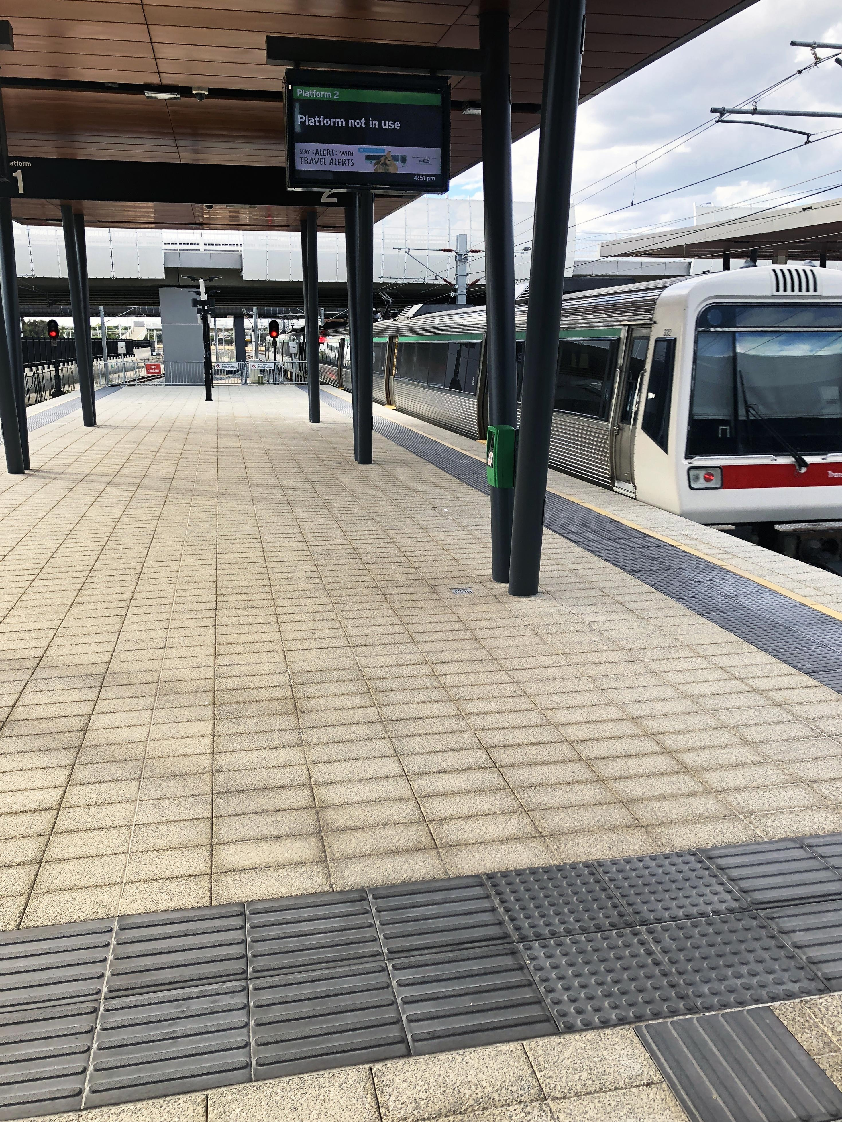 Optus Stadium Train Station - Quartz and Tactile Paving (Hassell Architects)