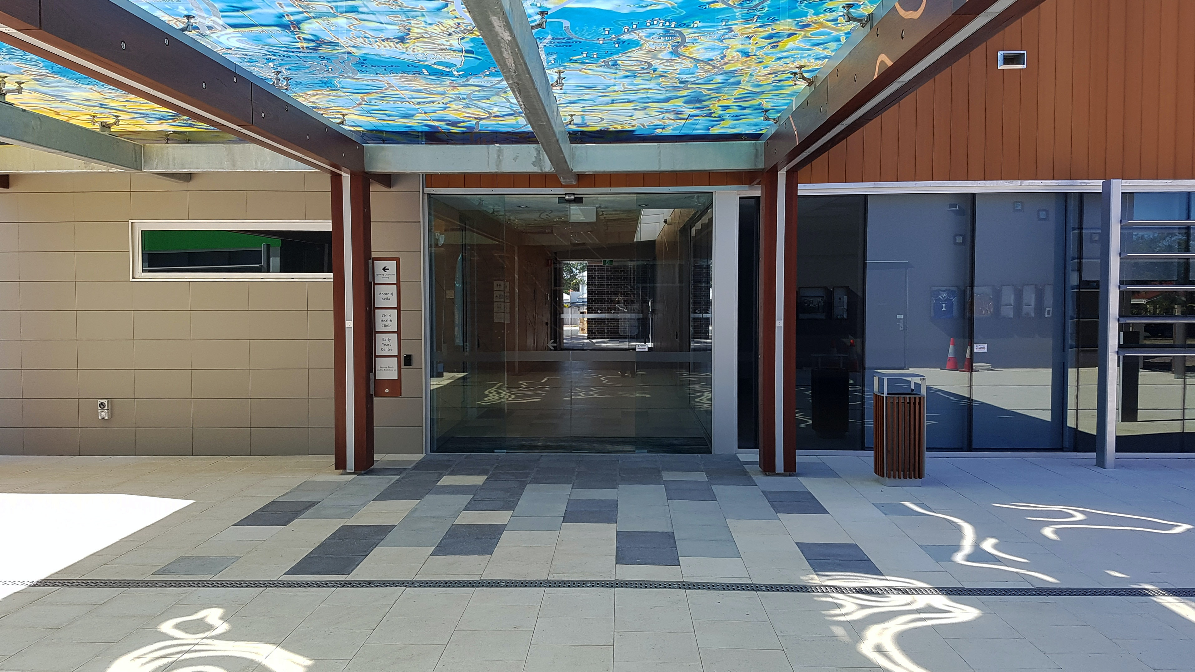 Manning Community Hub - Ice, Greystone & Charcoal Coral Pavers