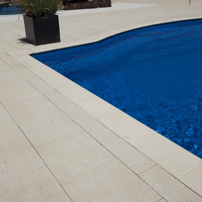 Sandstone Coral Bullnose and Sandstone Diamond Pavers