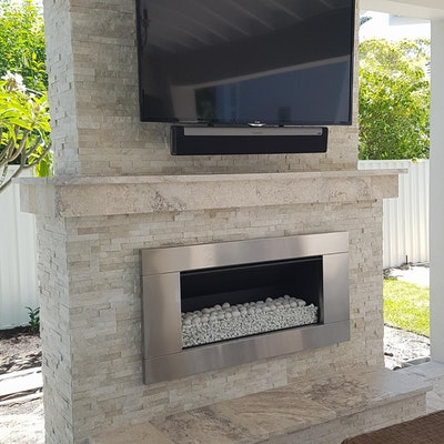 White Quartz Natural Stone Fireplace Cladding Perth