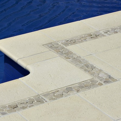 Sandstone Coral Paver, Yellow Riverstone in Sandstone Base
