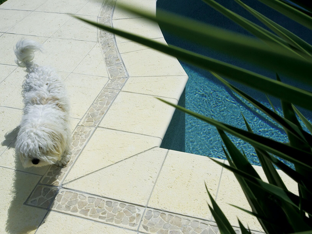 Ice Coral Pavers & Riverstone Border