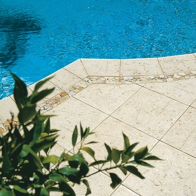 Sandstone Coral Paving, Yellow Riverstone Border in Sandstone Base