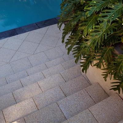 Ice Quartz Paver, Black Granite Polished Squarenose