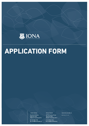 Iona Enrolment Application Form cover