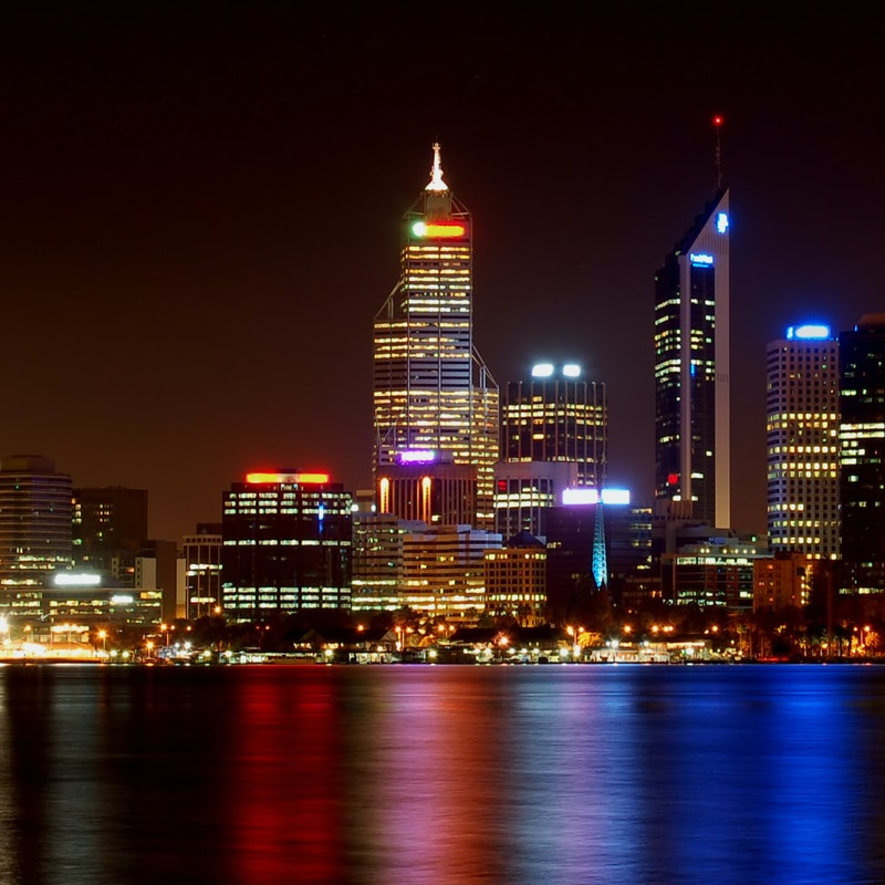 Perth City skyline and the Swan River