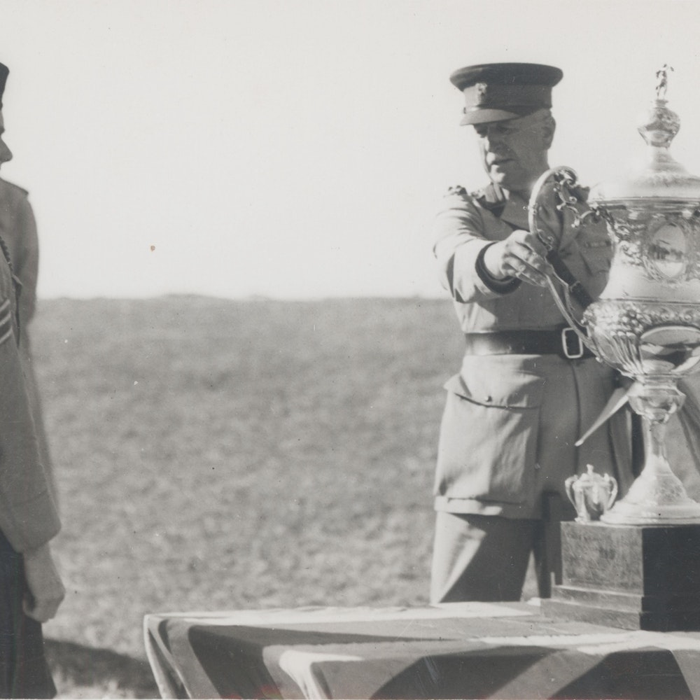 Cadet Officers and NCOS with Sergeant Ken Anketell receiving the Shooting Cup Trophy, 1944