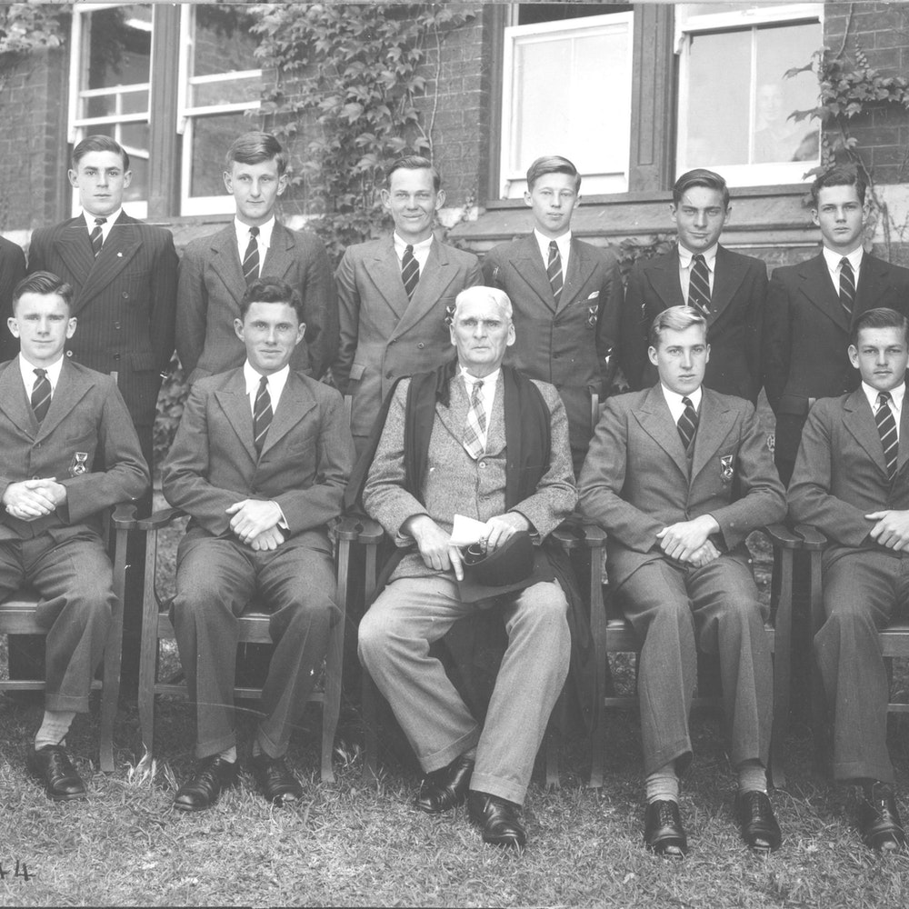 Students with Headmaster Mr P C Anderson, 1944