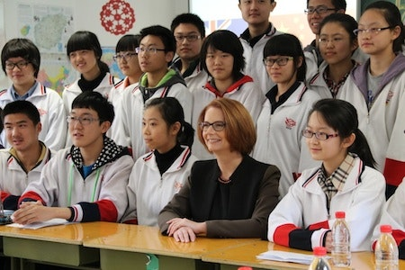 Julia Gillard with Chinese Students from Chen Jing Lun High School