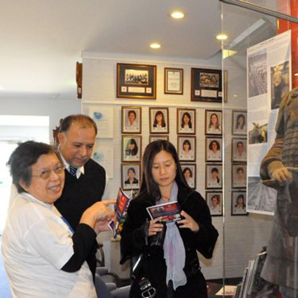"Grace Wang from Chen Jing Lun High School and Anita Chong from Mount Lawley SHS viewing the ""General"""