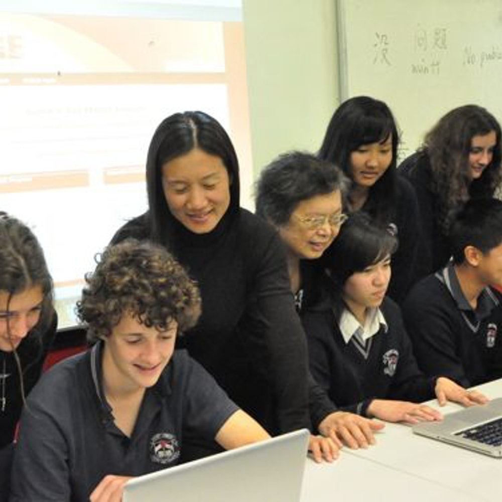 Grace Wang with students from Mount Lawley SHS communicating with students from Chen Jing Lun High School