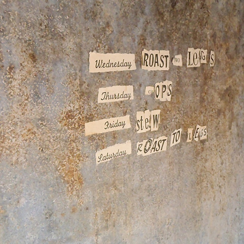 Text statements - glued inside the metal chimney.