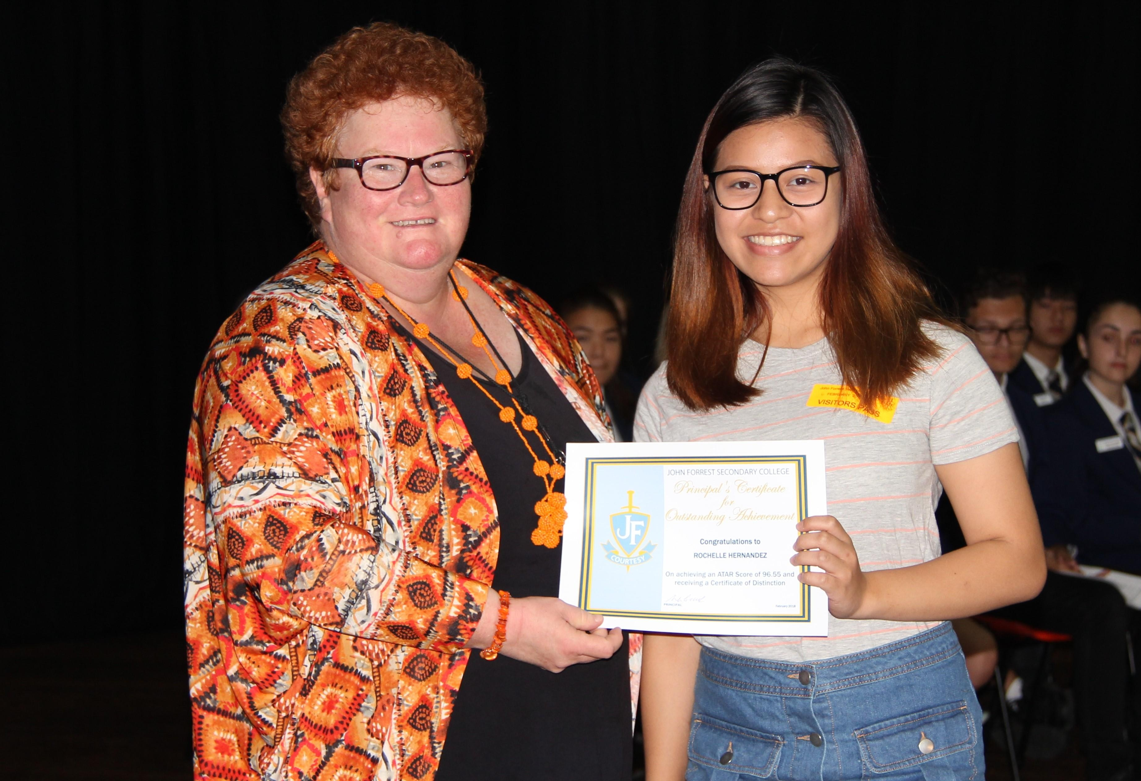 Rochelle Hernandez - Certificate of Distinction, ATAR of 96.55