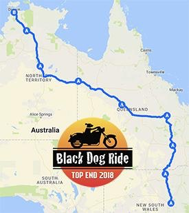 Black Dog Ride to the Top End 2018 Dubbo to Darwin Map