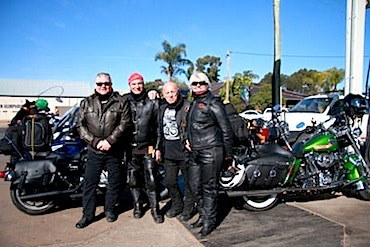 Toad, Phil Waesch, Angry Anderson and Sue Waesch on the 2012 Ride to the Red Centre