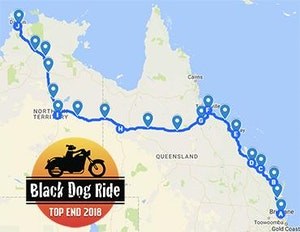 Black Dog Ride to the Top End 2018 QLD Map