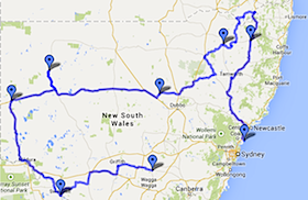 Black Dog Ride Around Australia - NSW State Ride Map