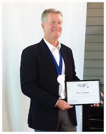 Steve Andrews with his Pride of Australia Certificate and Medal