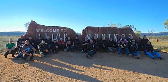 South Australian Black Dog Riders arrive in Alice Springs - Ride to the Red Centre 2013