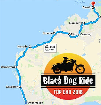 Black Dog Ride to the Top End 2018 WA Map