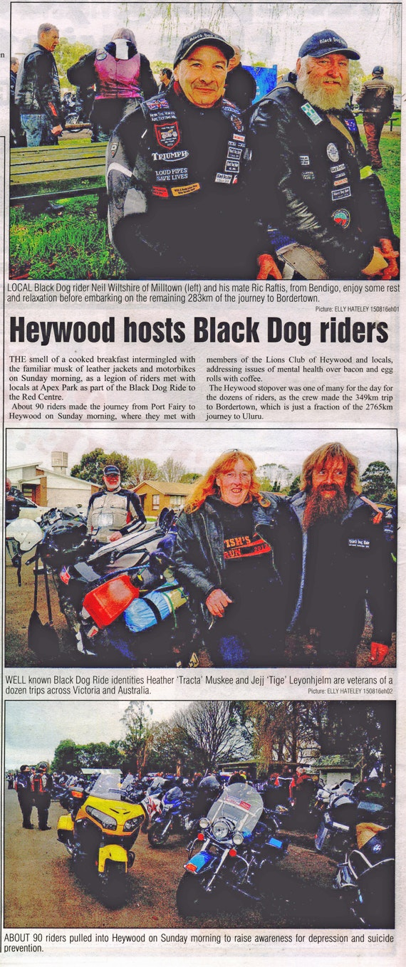 Heywood Hosts Uluru Bound Riders for Depression Awareness