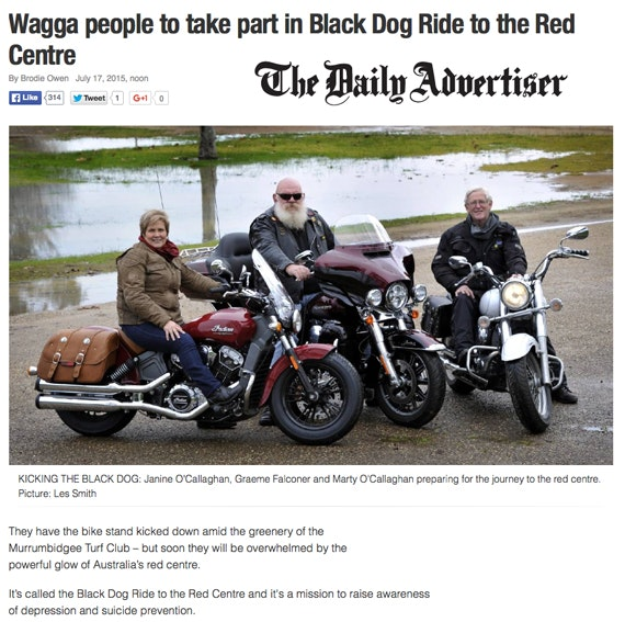 Black Dog Ride Red Centre 2015 Media - Wagga Riders Head to Uluru