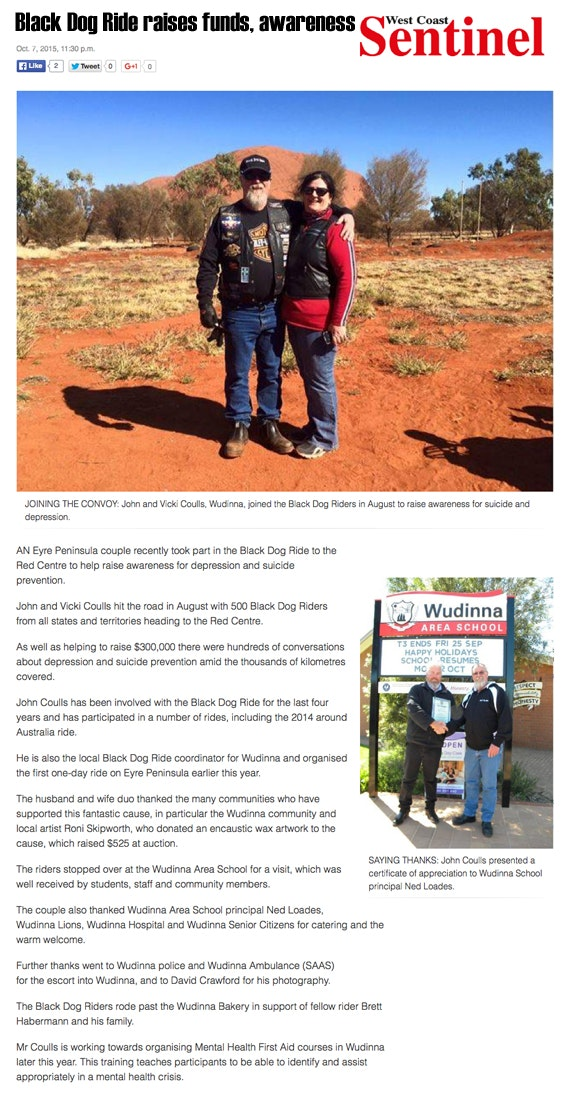 Black Dog Ride Red Centre 2015 Media - John and Vicki Coulls Raise Funds and Awareness in Wudinna
