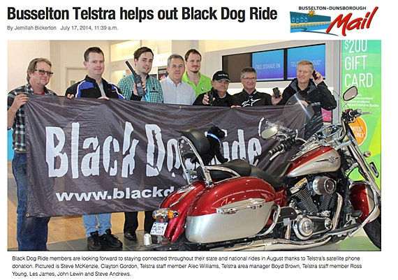 Black Dog Ride Around Australia Media - Busselton Telstra Helps Black Dog Ride