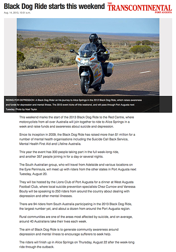 Black Dog Ride in Port Augusta