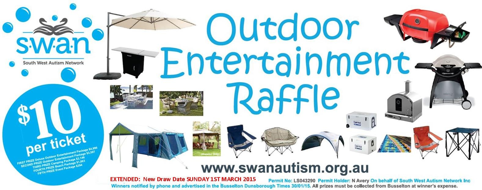 Picture of prizes for SWAN Outdoor Entertainment Raffle